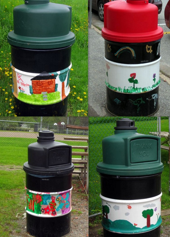 garbage cans collage